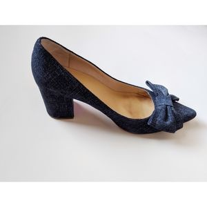 Kate Spade denim bow block heel